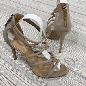Schutz Mindy Tan Knot Strappy Heels - sz 9.5